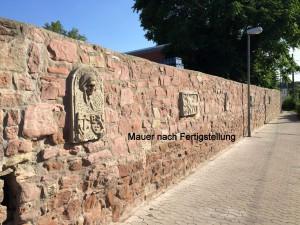 Mauer nach Fertigstellung der Sanierung
